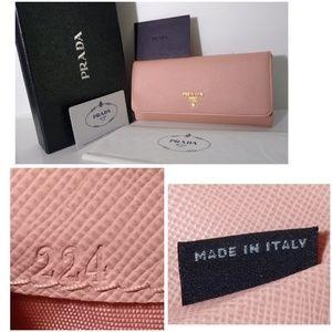 Auth Saffiano Prada Leather Wallet +Card+Box Good